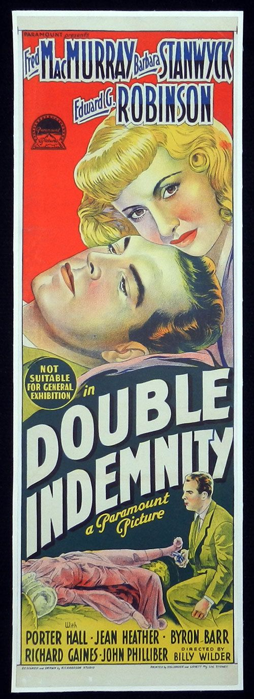 DOUBLE INDEMNITY Australian Daybill Movie Poster 1944 Film Noir Movie poster