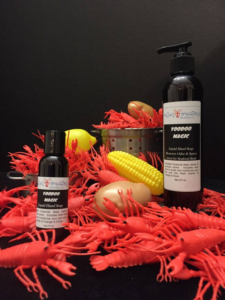 Voodoo Magic Liquid Hand Soap by CajunCreationsGandM on Etsy https://www.etsy.com/listing/265080772/voodoo-magic-liquid-hand-soap Great for your next crawfish boil! Removes odor and spices from your hands leaving them smelling clean and fresh.