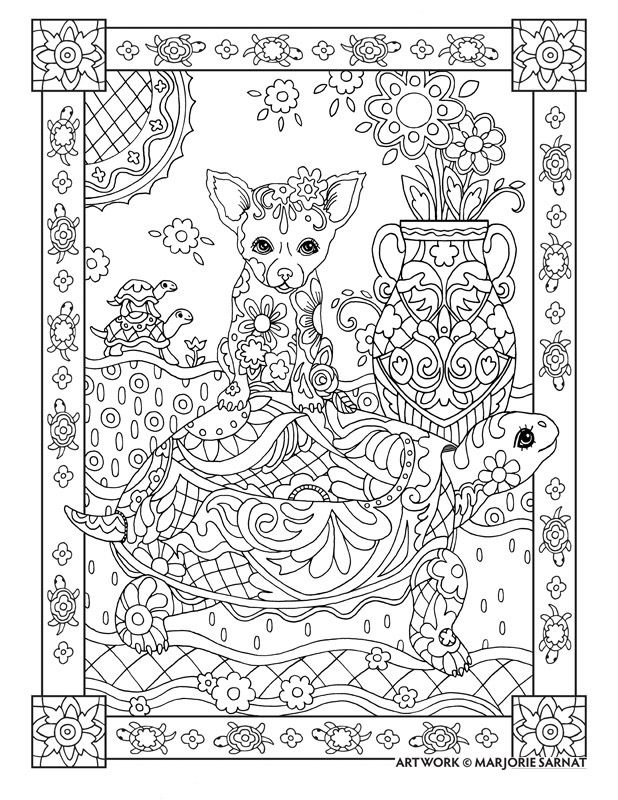 "Creative Haven Dazzling Dogs Coloring Book by Marjorie Sarnat, ""Chihuahua on Turtle"""