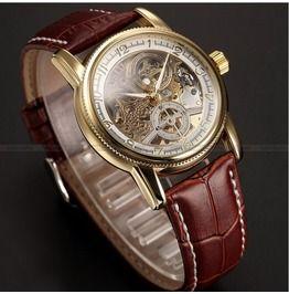 Steampunk Men's Skeleton Mechanical Leather Wrist Watch 423
