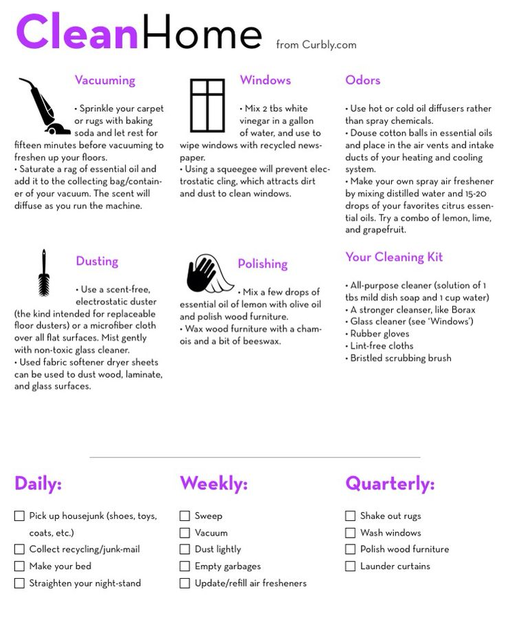 bf2c062086a355aa5746a5c94bca7ddd  home cleaning spring cleaning 'Home Cleaning Check List and Cheat Sheet...!' (via Curbly)