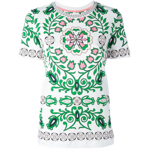 Tory Burch - Vienna floral print T-shirt - women - Cotton - S ($93) ❤ liked on Polyvore featuring tops, t-shirts, white, white t shirt, floral graphic tee, white top, multi color t shirts and white cotton tee