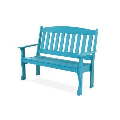 August Grove Leeroy Garden Bench Color Aruba Blue Plastic