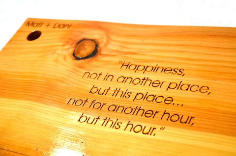 Engraved Cutting Board. Make it special for your Love at Make Vancouver.