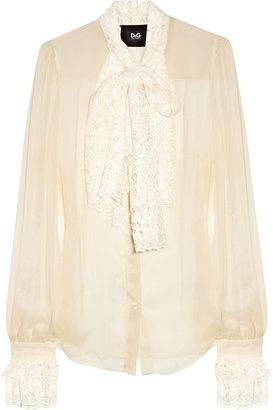 ShopStyle: D Lace-trimmed silk-blend blouse