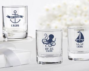 Personalized Shot Glass - Nautical Baby Shower - Personalized Favors by Kate Aspen