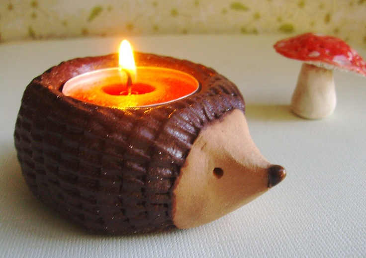 Sweet Hedgehog candle holder.: