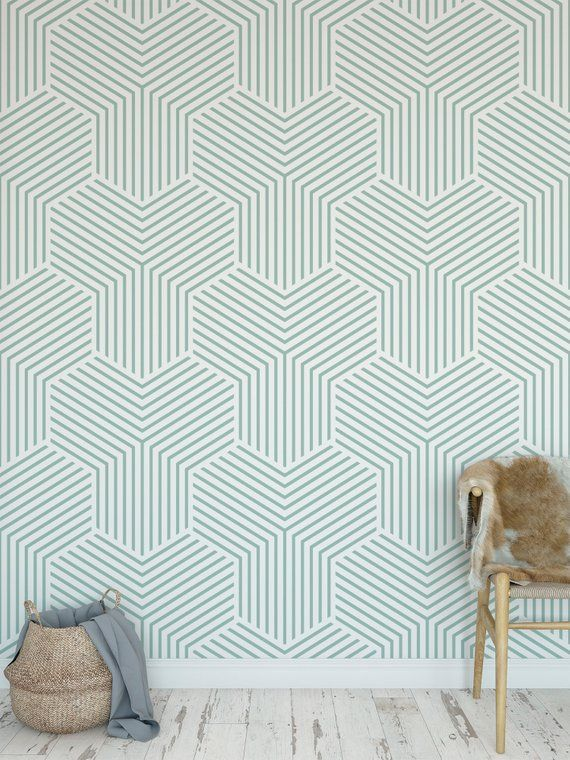 Removable Peel And Stick Wallpaper Green Modern Minimalistic Etsy Peel And Stick Wallpaper Vinyl Wallpaper Removable Wallpaper