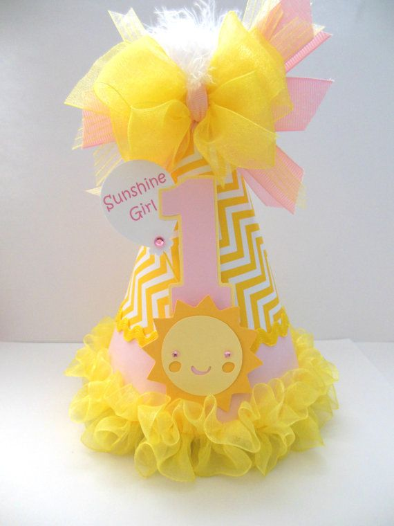 Light Pink Sunshine Girl - Light Pink and Yellow Chevron - You Are My Sunshine Birthday Party Hat - Personalized $16.50
