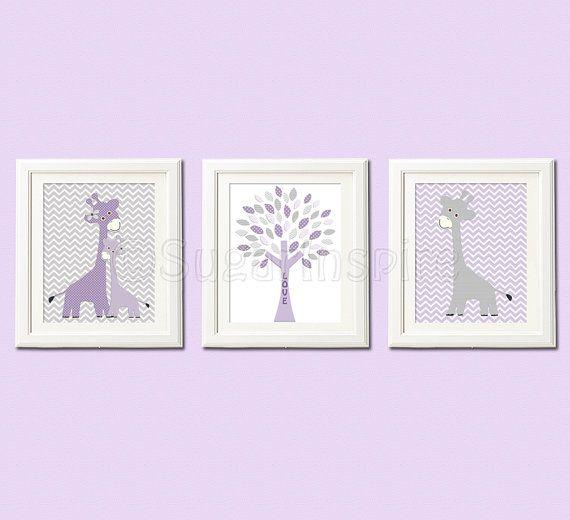Purple Giraffe nursery art Print, 8x10, Kids Room Decor, baby wall art - chevron, giraffe family, purple and gray