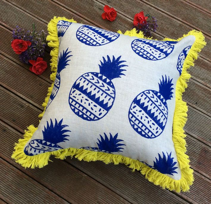 A striking combo of Indigo & bright yellow, this is one of my designs I developed & handblock printed in Australia, each block is also designed by me. My pineapple cushion can be beachy, coastal & tropical as well!