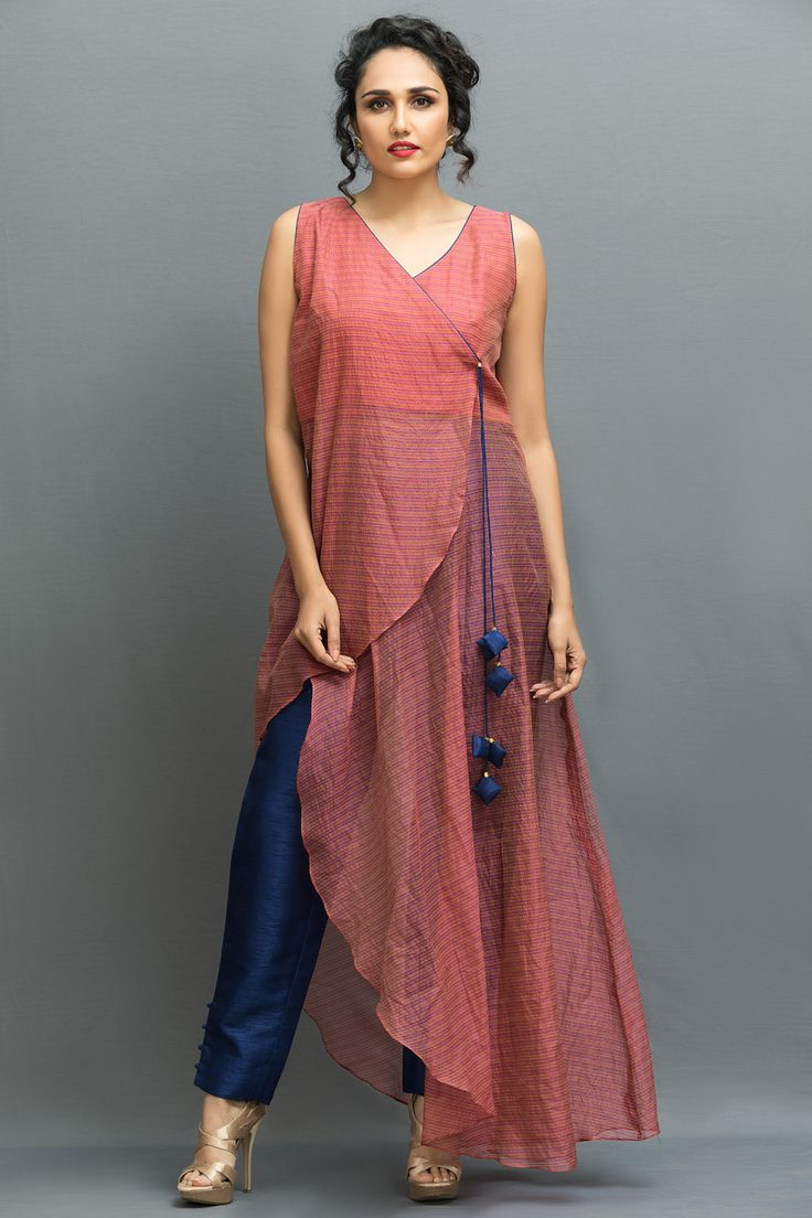 INDIAN ETHINIC, Salmon pink sleeveless angrakha kurta set