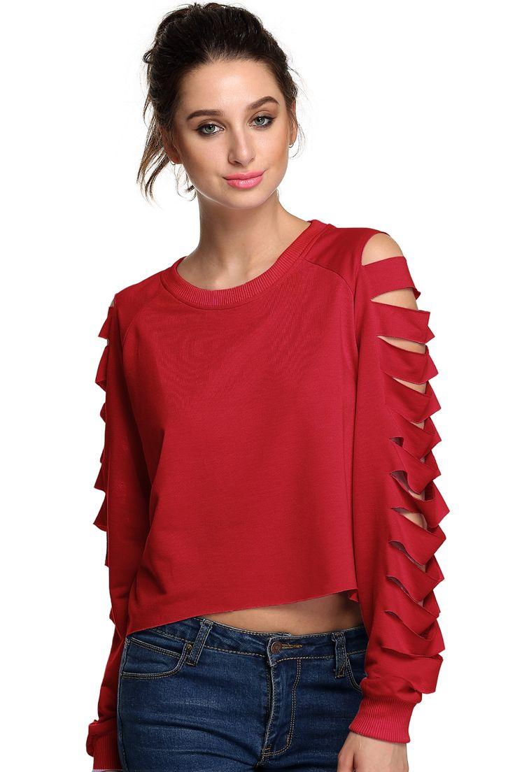 Finejo Red Women Casual Long Hollow Sleeve Irregular Top Solid Leisure Sexy Blouse Hoodies & Sweatshirts dresslink.com
