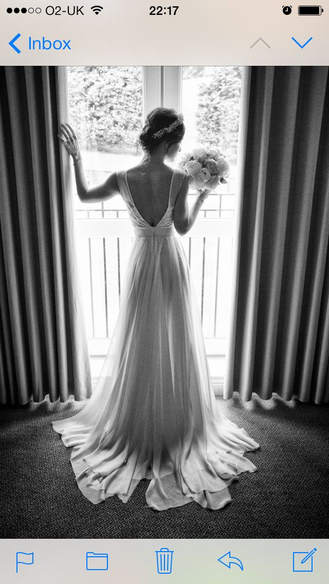 Dreamy!! Another picture showing the shape of the train on Stephanie's gown. Delicate overlays of chiffon created this look. #kirstydoyle #bespoke #bride