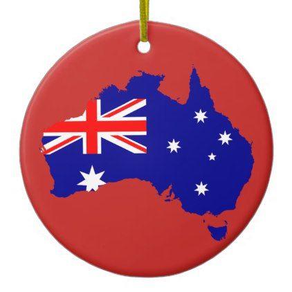 Australia Flag Map Porcelain Ornament - Xmas ChristmasEve Christmas Eve Christmas merry xmas family kids gifts holidays Santa