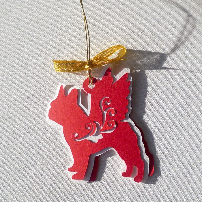 French Bulldog Christmas tree decoration Caspar by PSIAKREW on Etsy