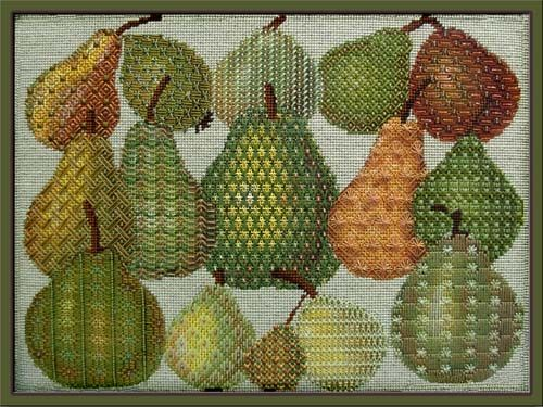 Melissa Shirley Designs | Hand Painted Needlepoint | A Vintage Pear Sampler (Someday)