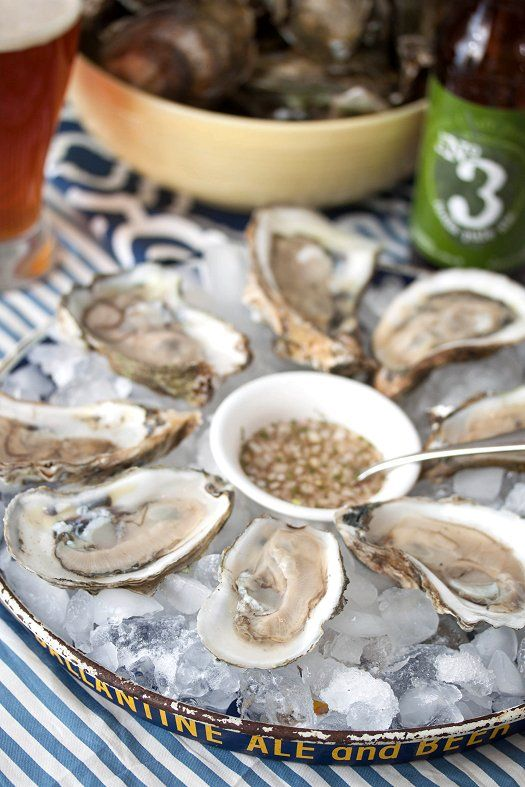 Oysters with Mignonette Sauce via tideandthyme.com  1/4 cup champagne or white wine vinegar , 1 shallot , 1/2 tsp freshly ground black pepper , 1/2 tsp fresh thyme , 1/4 tsp kosher salt via tideandthyme.com