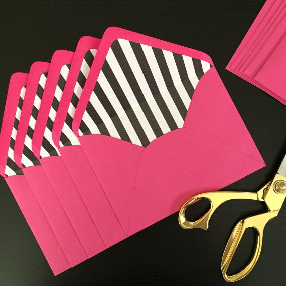 Kate Spade inspired envelopes with black and white striped liner