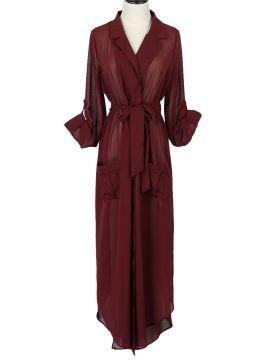 Shop Burgundy Lapel Tie Waist Roll Up Sleeve Chiffon Maxi Dress from choies.com .Free shipping Worldwide.$19.9