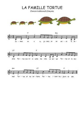 Téléchargez la partition gratuite de La famille tortue en PDF