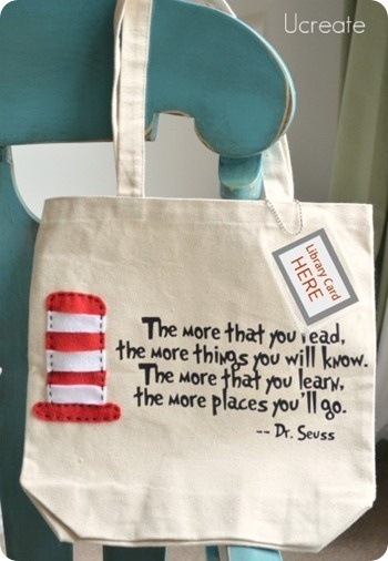 Library book bag. Seussed.  Cute I want to make this and maybe give it away as a student reward when they reach a really big reading goal.