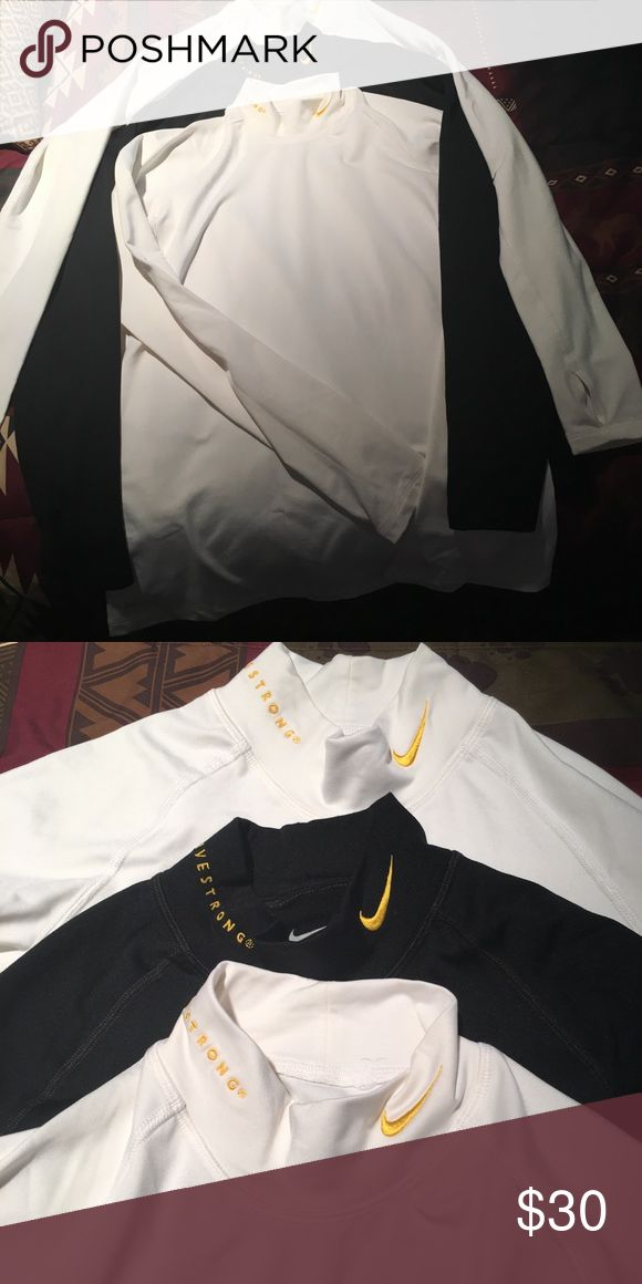 Ladies Nike Livestrong shirts Nike livestrong shirts dri-fit. NWOT, great for exercising or layering under Jacket. Selling all 3 together for 30.00 Nike Tops