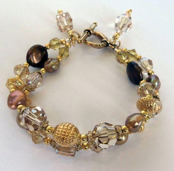 2 Cadena de cristales de Swarovski en moneda de oro sombra, agua dulce y perlas de Swarovski 24K oro Vermeil Bali pulsera Bohemia Boho Chic
