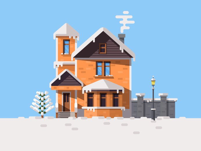 Winter house in Illustration