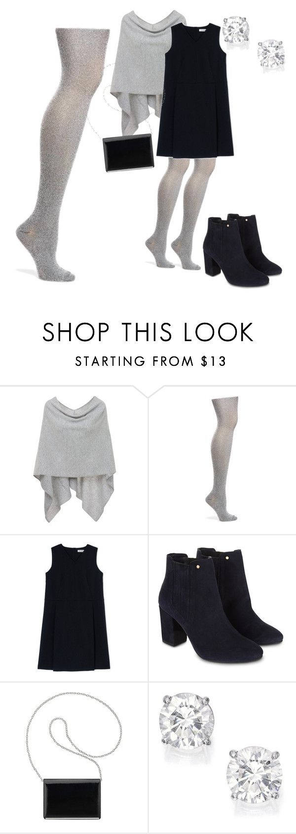 """Sparkly silver tights"" by zoilashopper on Polyvore featuring Minnie Rose, Old Navy, Jil Sander, Monsoon and Nine West"