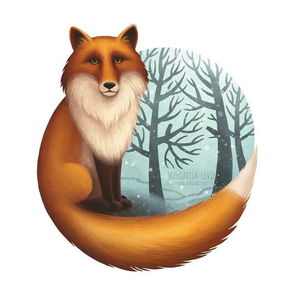 Лиса окутывает хвостом лес, Иллюстрация © МаргаритаЛевина