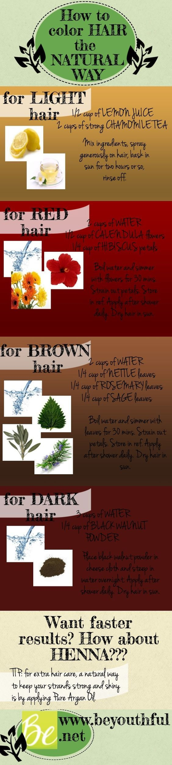 How to dye hair naturally. New year, new hair color, new and natural way of doing it! http://beyouthful.net/infographic-how-to-dye-hair-naturally-new-year-new-hair-color/