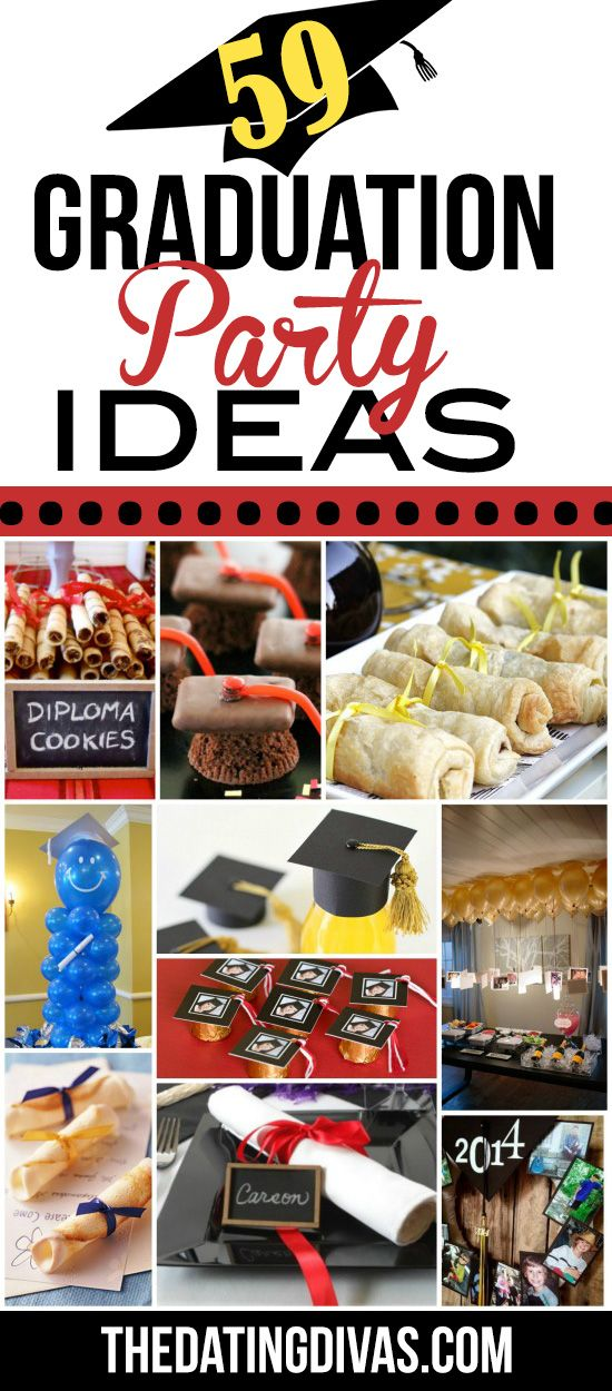 This post is packed full of great ideas!! It has graduation party theme, food, and decor ideas. As well as TONS of other ideas- great grad gifts, graduation picture ideas, etc. www.TheDatingDivas.com