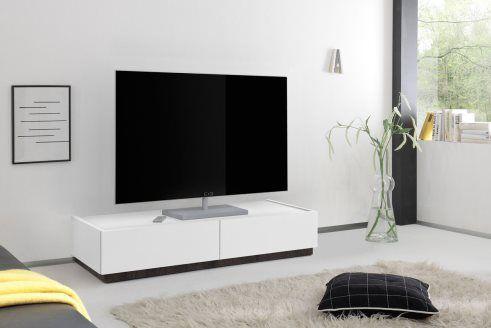 Meuble TV 2 tiroirs Domino  Blanc et imitation wengé