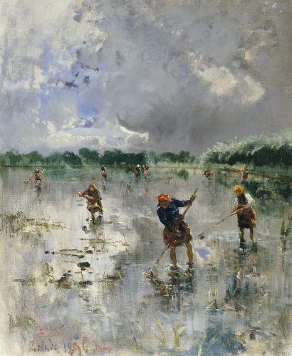 Women Working In Rice Fields, 1896 by Pompeo Mariani (Italian, 1857-1927). #Italian #art