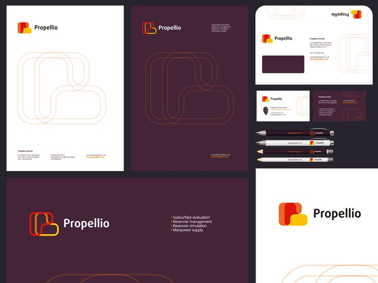 Logo and stationery design for Propellio Limited: double sided A4 letterhead, DL envelope, double sided business cards, pens & pencils.  You can see the image @2x size.  Visit my portfolio webs...