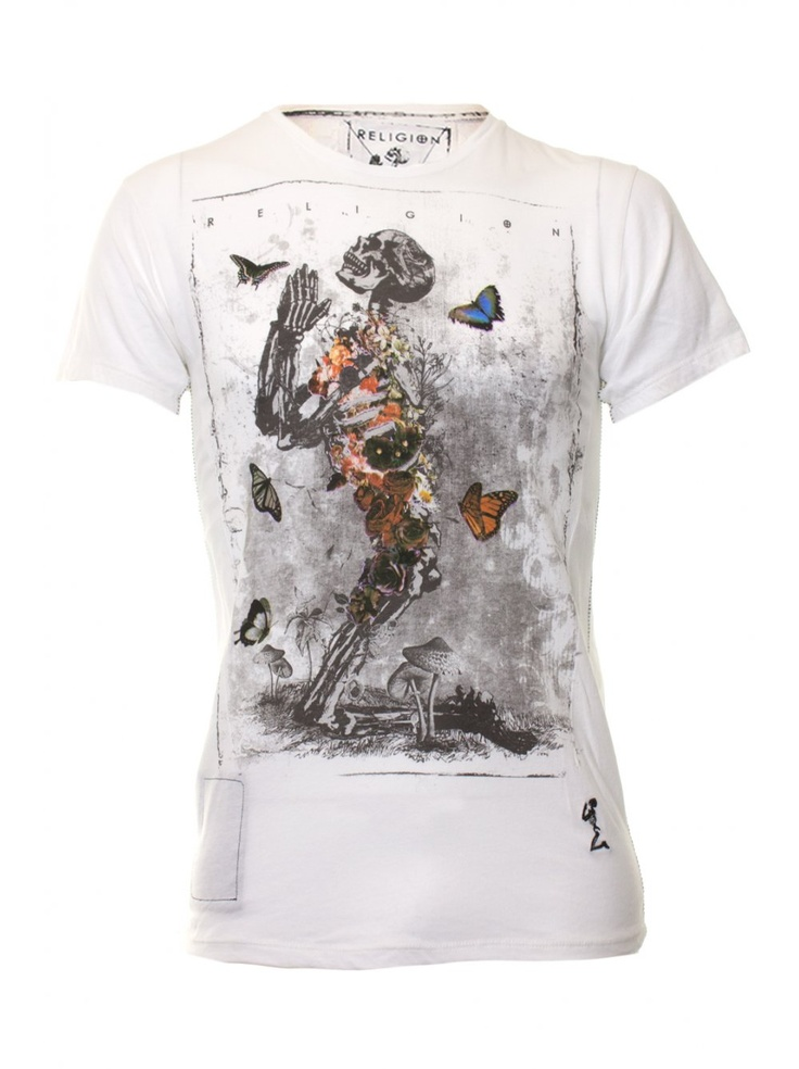 Religion Clothing T-Shirt Skull Butterfly SS Crew Neck In White.