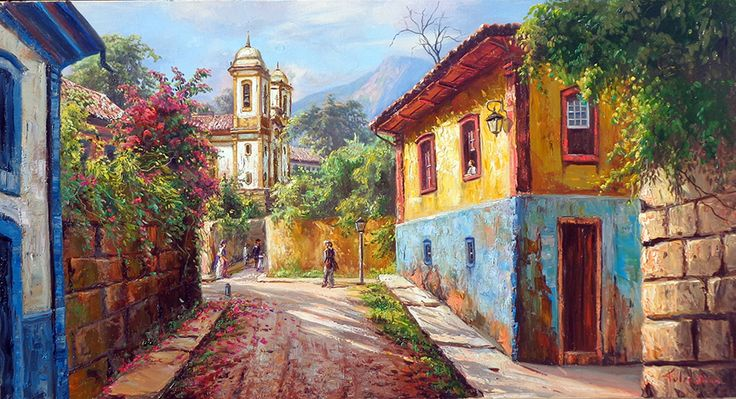 """Meu terceiro trabalho espatulado       Tulio Dias   """"Casario Barroco""""   70x130-Óleo sobre tela-2015     ------------------------------..."""