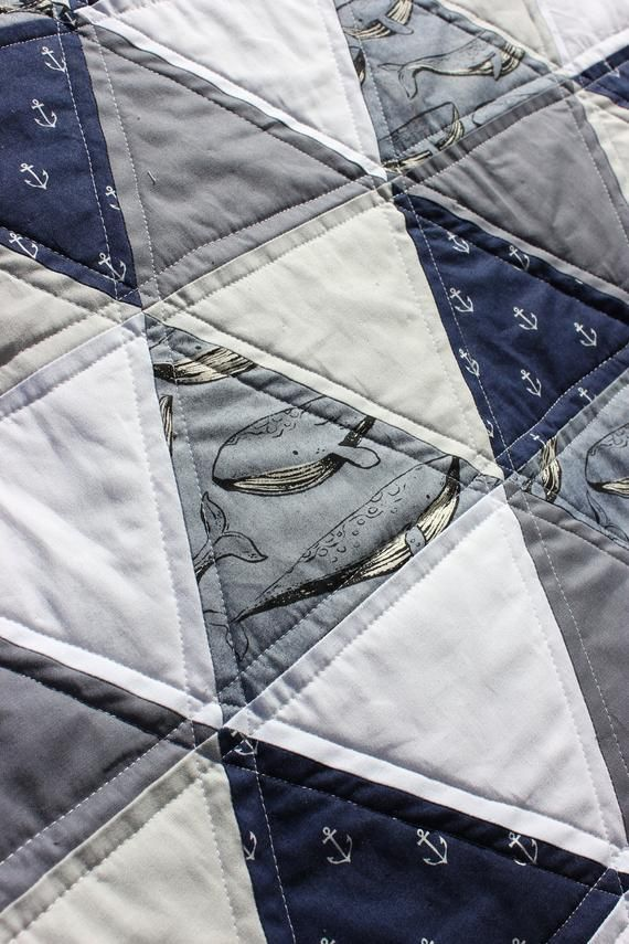 and Sea themed Baby Boys Quilt! Anchor Modern Boys Baby Quilt Blue Gray Whale Nautical Baby Boys Quilt White Triangle Quilt