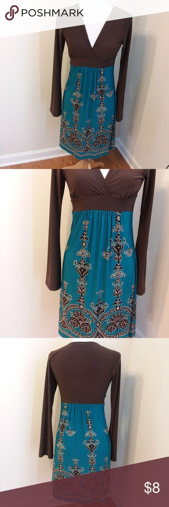 Body Central Dress Slinky v neck dress with long bell sleeves Body Central Dresses Midi