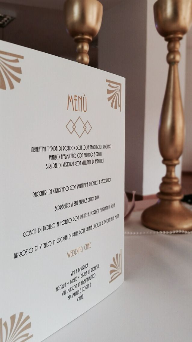 Gatsby stile menu.. Lovely golden wedding based in Italy