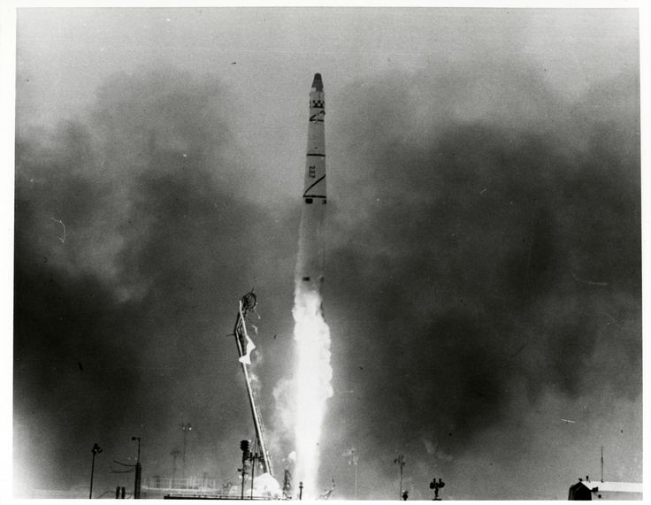 Launch of Discoverer 14 satellite, August 18, 1960 on a Thor booster, Vandenberg Air Force Base, California. Discoverer was a cover name for the secret Corona Program. Discoverer's alternate ID was KH-1 9009.