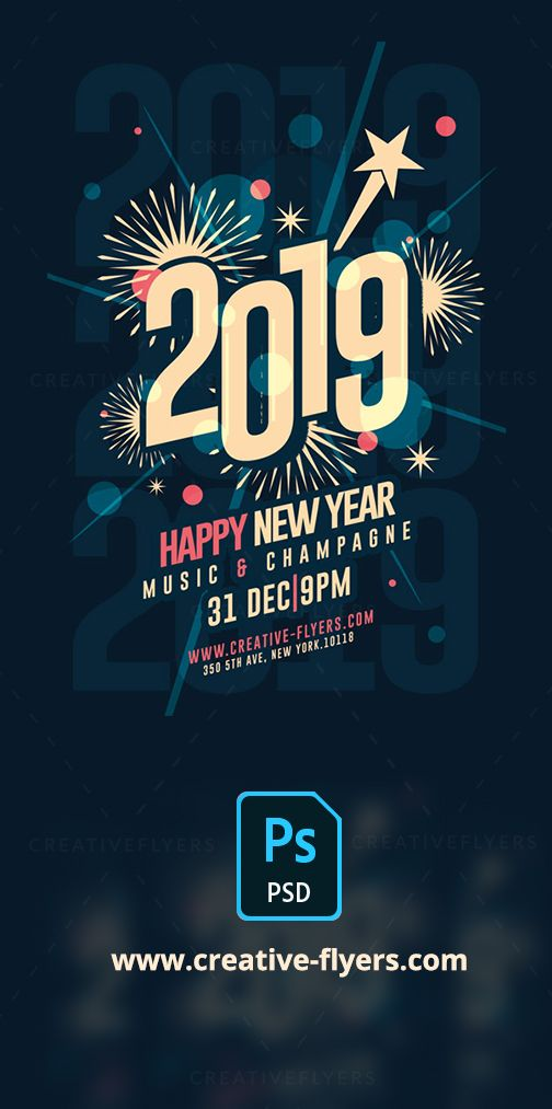 new year template print ready 300 dpi cmyk psd flyer templates will work with adobe photoshop easy to customize all text editable with text tool