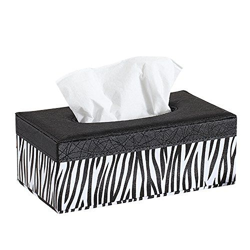 Kaimao Rectangular PU Leather Facial Tissue Box Holder Cover Reusable Napkin Paper Box Case for Home Office Hotel Car Automotive Decoration - (19129.5 cm / Zebra pattern) | ZebraGifts.net