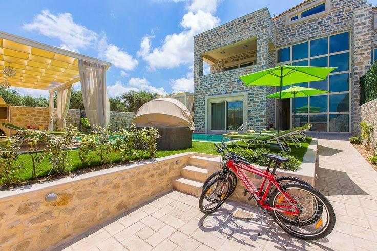 Mare Villas (Villa Green Mare) in Rethymno, Crete. #villa #greece #crete #vacationrental #luxury #private #pool #island #sea #view #blue #green #bicycles