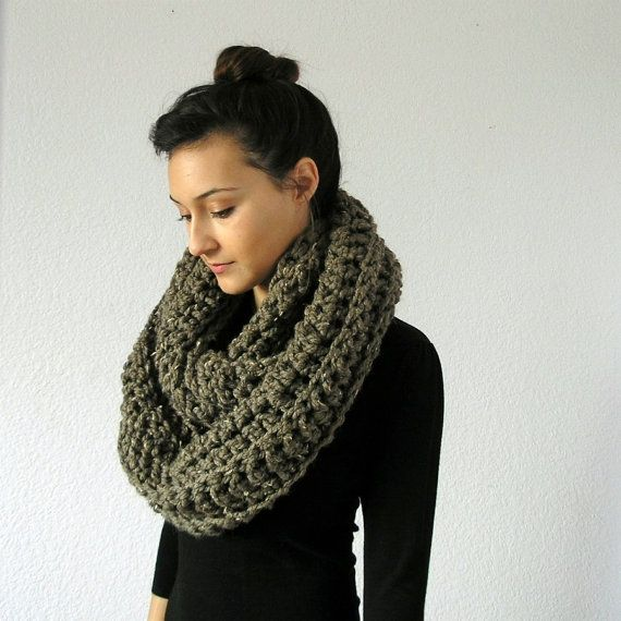 The Bastille Chunky Infinity Scarf  BARLEY by deroucheau on Etsy.  I bought it and love it.
