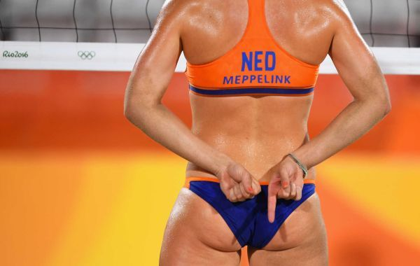 Madelein Meppelink of the Netherlands signals during the Women's Beach Volleyball preliminary round Pool F match against Olaya Perez Pazo and Norisbeth Agudo of Venezuela on Day 1 of the Rio 2016 Olympic Games at the Beach Volleyball Arena on August 6, 2016 in Rio de Janeiro, Brazil.