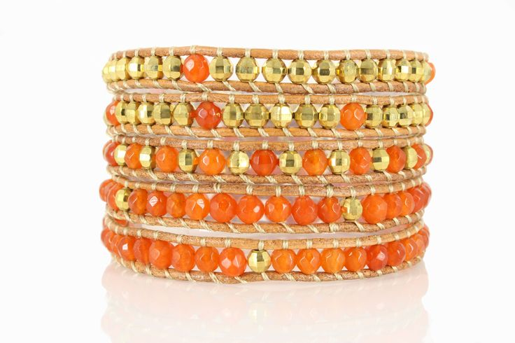 IBIZA Wrap Bracelet by #Beautiz. Beautiful 5 layer handcrafted leather wrap bracelet. Real Jasper stones and golden pearls. Stainless Steel and Nickel-Free Clasp. Shop here: http://www.beautiz.net/english/fashion-jewelry/bracelets/wrap-bracelets/ibiza.html?___SID=U