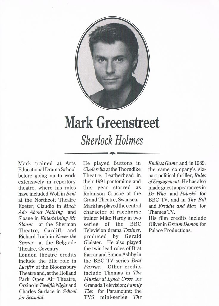 Mark Greenstreet in Sherlock Holmes and The Crucifer of Blood im Wimbledon Theater