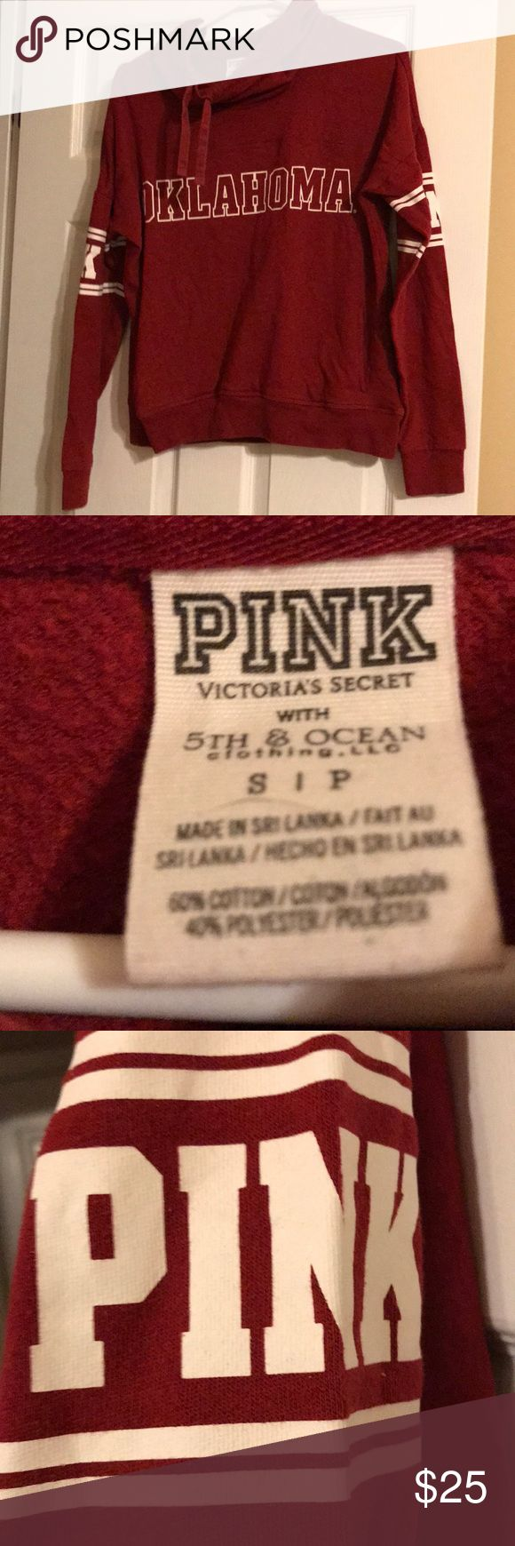 Victoria Secret Pink Oklahoma Sweatshirt Small 🏈 This is a nearly new Victoria Secret Pink OU Red Sweatshirt with cowl neck . The word Oklahoma is bold across the front and the word Pink is on both sleeves. Support Oklahoma University in a cute Sweatshirt . I bundle and ship fast . 🏈🏈 PINK Victoria's Secret Tops Sweatshirts & Hoodies